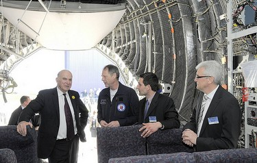 Dr Cable (left) on a previous visit to Airbus, Filton