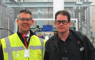 Matthew Livesey, Bosch Rexroth's area manager, North West (left) with Eastman mechanical engineer Pat Enright, who was lead project engineer for the upgrade