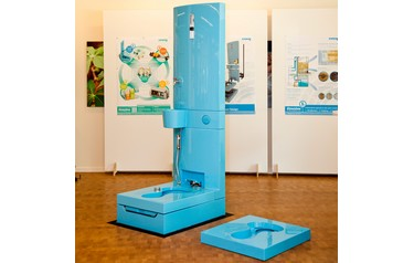 The diversion-toilet, developped and designed by Eawag and EOOS, on display at the sanitation fair in Seattle