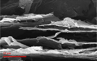 SEM image of the cross section of photo-thermally reduced graphene showing the expanded structure (photo courtesy Rensselaer Polytechnic Institute)
