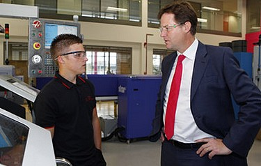 Deputy Prime Minister Nick Clegg with an apprentice