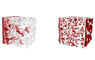 The 3D simulation on the left shows the distribution and movement of CO2 in sandstone capillaries under stationary flow conditions. On the right, non-stationary flow conditions are simulated (illustration courtesy of Numerical Rocks AS)