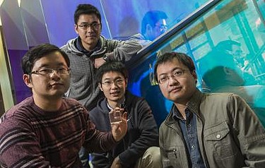 Rice University researchers from left: graduate students Ciyuan Qiu, Jianbo Chen and Yang Xia, and Qianfan Xu, an assistant professor of electrical and computer engineering