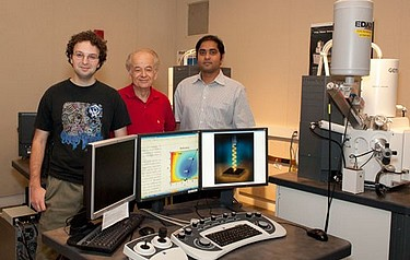Mikhail Kats, Federico Capasso, and Shriram Ramanathan are pictured here in a scanning electron microscopy imaging suite at the Harvard Center for Nanoscale Systems (photo by Caroline Perry, SEAS Communications)