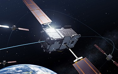 The Galileo satellites. Image courtesy of the European Space Agency