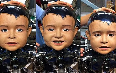 Different faces of Diego-san: video of robo-toddler shows him demonstrating different facial expressions, using 27 moving parts in the head alone