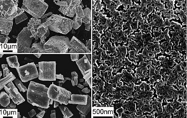 A nanoporous solid electrolyte (bottom left and in detail on right) from a solvated precursor (top left). The material conducts ions 1,000 times faster than its natural bulk form and enables more energy-dense lithium ion batteries