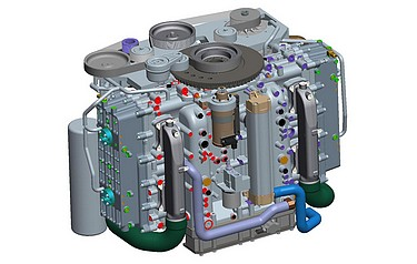 CAD model of the Cox Powertrain concept: CAE tools were used extensively to optimise and validate the design to an extremely high level prior to prototype manufacture
