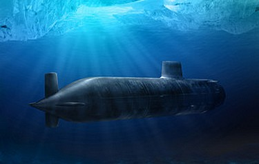 Computer-generated image of an Astute Class submarine