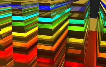 An view of the hyperbolic metamaterial waveguide, which catches and ultimately absorbs wavelengths (or colour) in a vertical direction (illustration courtesy of the University at Buffalo)