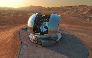 An artist's impression of the E-ELT at its site in Chile