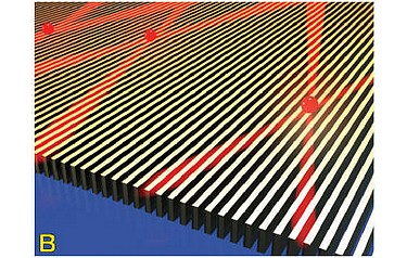 A 'hyperbolic metasurface', a tiny metallic grating for enhancing 'quantum emitters', which could make possible future quantum information systems far more powerful than today's computers (Birck Nanotechnology Center, Purdue University)