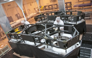 Technicians complete the primary mirror backplane support structure wing assemblies for NASA's James Webb Space Telescope at ATK's Space Components facility in Magna, Utah (photo credit: Northrop Grumman/ATK)