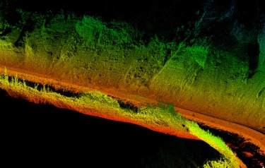 Mobile LIDAR was used to make this image of Glitter Gulch near Denali National Park in Alaska, with some nearby unstable highway slopes (image courtesy of Oregon State University)