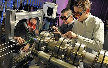 Left to right: Tobias Ecker, Wing Ng and Todd Lowe at work on the test rig (photo: Virginia Tech)