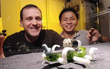 Daniel Goldman and Chen Li watch a robot traverse a track bed of poppy seeds as part of a study into how animals and robots move on granular surfaces (image: Georgia Tech/Gary Meek)