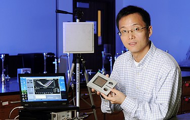 Strain sensing for infrastructure. Professor Yang Wang with the prototype sensor