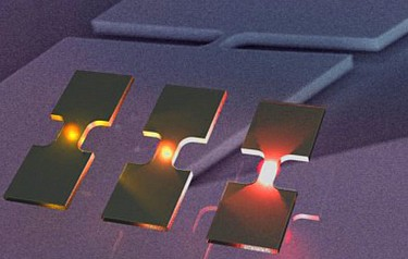 Light emitting bridges of germanium can be used for communication between microprocessors (graphic: Hans Sigg, PSI)