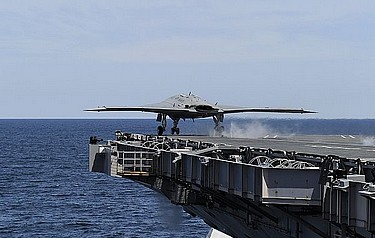 The drone takes off from the USS George H.W. Bush. US Navy photo courtesy of Northrop Grumman by Alan Radecki