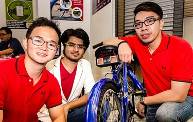 NTU students show off their 'BikeSense' invention