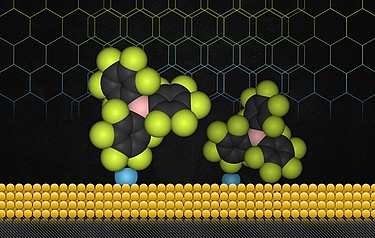 A gold surface (in yellow) with a polymer material (depicted as complex shapes of green, black and pink) attached to the gold surface by carbenes (depicted as blue spheres). Illustration: Christine Daniloff/MIT