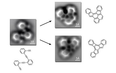 The original reactant molecule, resting on a flat silver surface, is imaged both before and after the reaction. The three-angstrom scale bars indicate that both reactant and products are about a billionth of a metre across