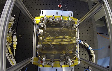 The LISA Pathfinder optical bench (photo: Paul Gavin/IGR/AEI/Milde Science Communication)