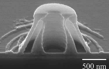 Cross-section of a nano-volcano carved using light (image: Chih-Hao Chang)