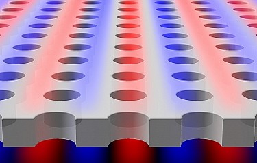 "Light is found to be confined within a planar slab with periodic array of holes, although the light is theoretically ""allowed"" to escape. Blue and red colors indicate surfaces of equal electric field (image: Chia Wei Hsu)"