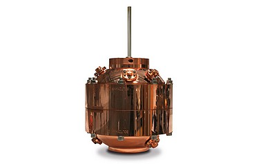 The acoustic resonator consists of two copper hemispheres and is used to help redefine the kelvin in terms of the Boltzmann constant