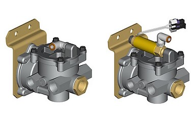 The LACM can be operated either pneumatically (left) or electrically (right) via a solenoid actuator