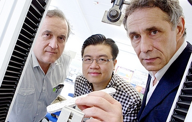From left: Dr Anton Ianakiev, Hooi Cheah and Dr Anthony Crabbe (who holds a specimen of the shredded paper composite)