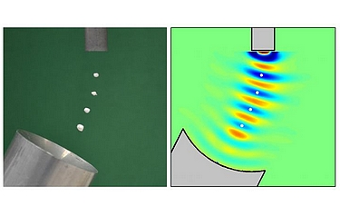 Levitation of expanded polystyrene particles (left) and the simulated standing wave pattern (right). Images courtesy of M. Andrade/University of São Paulo