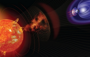 The report cover image is an artist's impression of events on the sun changing the conditions in near-Earth space (image source: NASA)