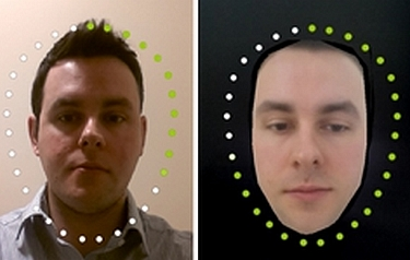 Left: normal use of the smartphone 'face-unlock' system, it stores a single image of the owner. Right: Shows the owner's face 'average' – an image derived from many photos of a person – being encoded into the system