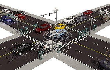Visualisation of an ORNL connected vehicles simulation using decentralised control algorithms (image: Andreas Malikopoulos)