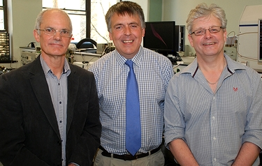 From left: Professor Rob Brown, Director of the Materials and Catalysis Research Group, Dr Gareth Parkes of the Department of Chemical Sciences and Professor Mike Reading, founder and research director of the company Cyversa