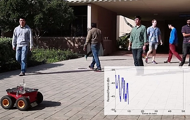 Researchers working in UCSB professor Yasamin Mostofi's lab use WiFi to count the number of people in a given space