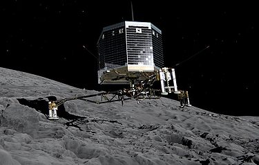 Artist's impression of Philae on the surface of comet 67P/Churyumov-Gerasimenko (image: ESA/ATG medialab)