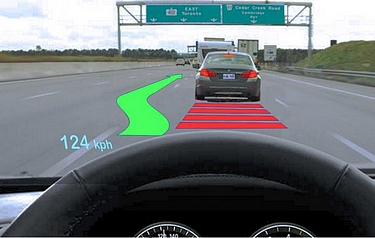 Augmented reality warnings and suggestions will normally appear infrequently, and often unpredictably, while the driver attends to other tasks that require visual attention (image courtesy of Sun Y, Wu S, Spence I (2015) PLoS ONE)
