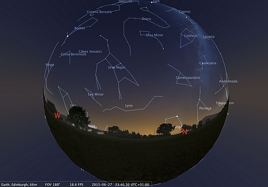 An image of the sky above Edinburgh made using Stellarium planetarium software. Users of the new headset will see a similar image, but will be totally immersed in the view (image: A. Lawrence)