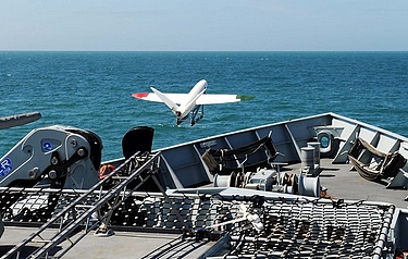 The university of Southampton UAV launches from HMS Mersey